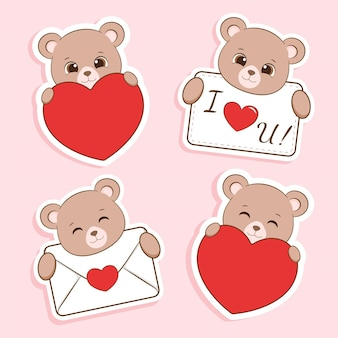 Cute bear in love stickers collection