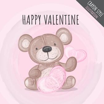 Cute bear lovely crayon illustration for kids