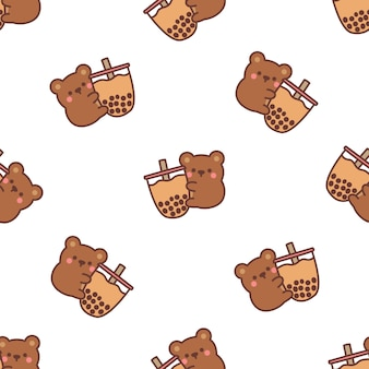 Cute bear loves bubble tea cartoon seamless pattern