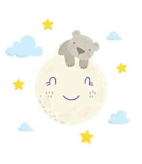 月の上に横たわるかわいいクマさん