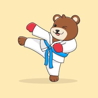 Cute bear martial kicking
