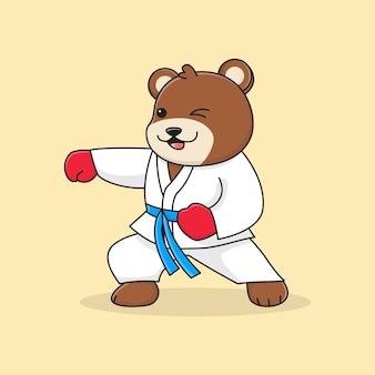 Cute bear martial punching