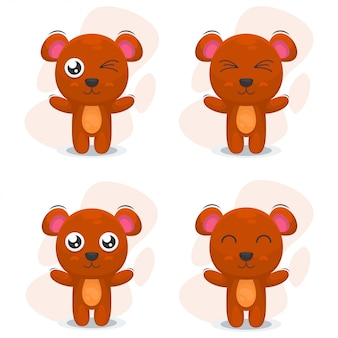 Cute bear mascot cartoon vector