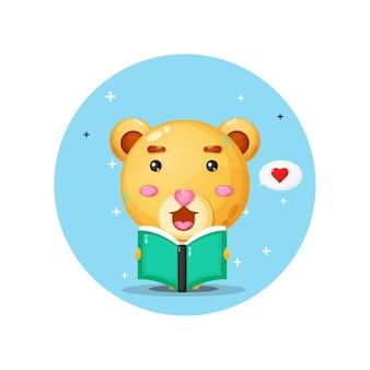 Cute bear mascot is reading a book