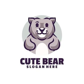 白で隔離されるかわいいクマのマスコット ロゴ