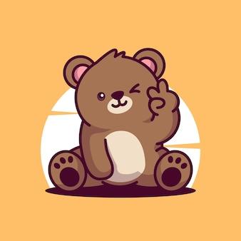 귀여운 곰 마스코트 벡터 아이콘 만화 캐릭터 그림
