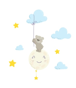 Cute bear on the moon holding cloud balloon