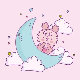 Cute bear on moon