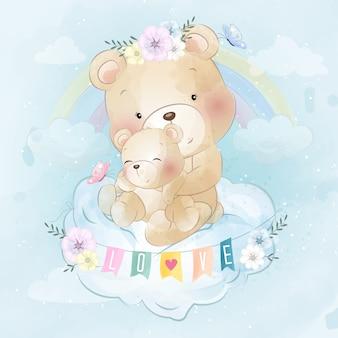 Милый медведь мать и сын