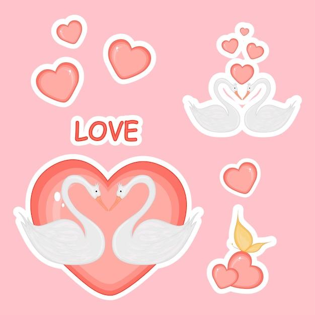 Милый медведь на велосипеде с сердечками на день святого валентина в мультяшном стиле. надпись любви. наклейки.