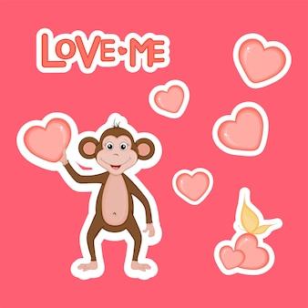 漫画のスタイルでバレンタインデーの心を持つ自転車のかわいいクマ。レタリング愛。ステッカー。
