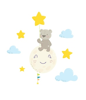 星の気球の漫画を持っている月にかわいいクマ