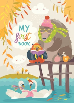 Cute bear owl and swans reading books in autumn forest