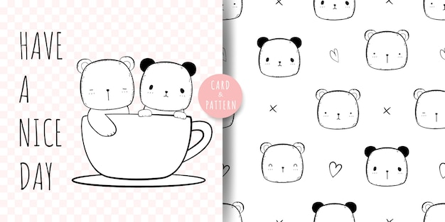 Cute bear and panda cartoon doodle seamless pattern and card