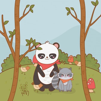 Cute bear panda in the field woodland character