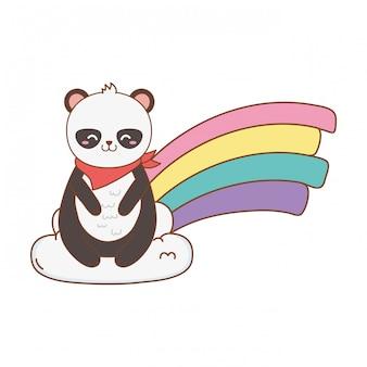 Милая панда в облаках с радугой