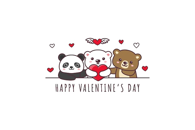 Cute bear, panda, polar bear drawing happy valentine's day doodle