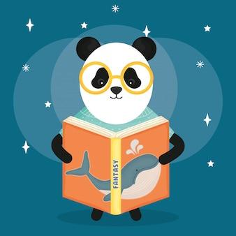 Cute bear panda reading book
