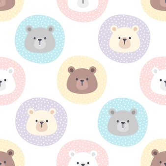 Cute bear in a pastel circle seamless pattern background