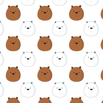 Cute bear pattern background vector hand drawn style