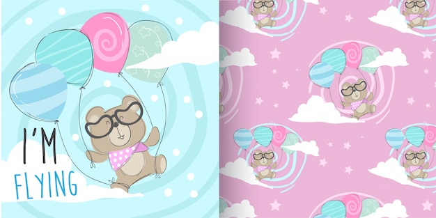 Cute bear pattern set, hand draw illustration-vector