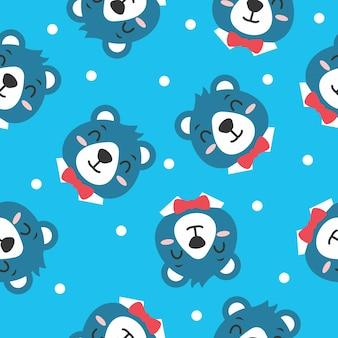 Cute bear pattern vector