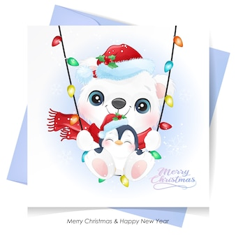 Cute  bear and penguin for christmas with watercolor card