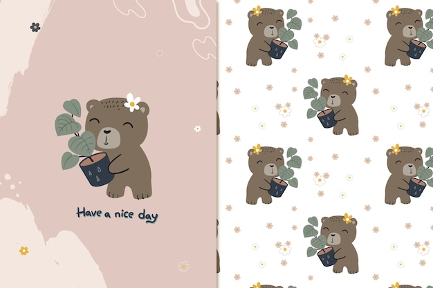 Cute bear and plant seamless pattern