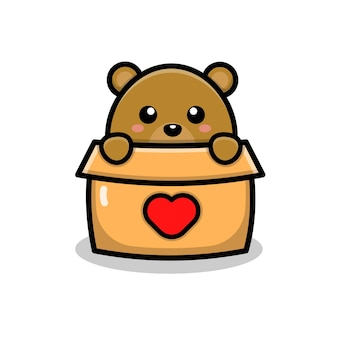 Cute bear play in box cartoon illustration