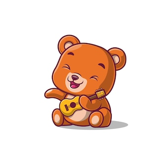 Милый медведь играет на гитаре, изолированные на белом фоне