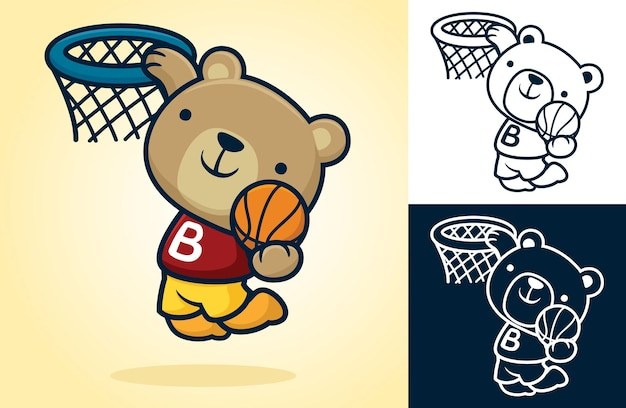 Cute bear playing basketball, jumping while holding ball to put it into basket.   cartoon illustration in flat icon style