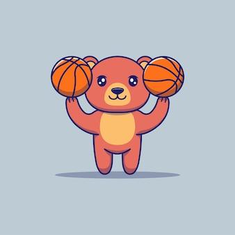 バスケットボールをしているかわいいクマ