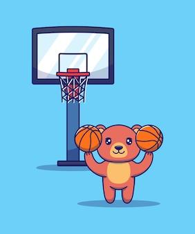 Милый медведь играет в баскетбол