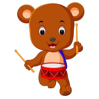 かわいいクマの演奏ドラム