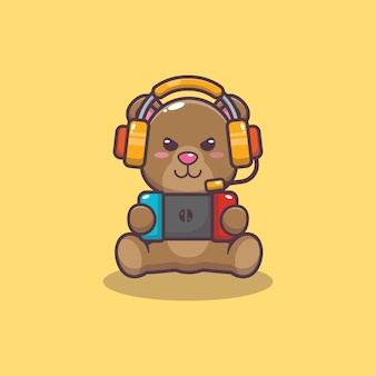Cute bear playing a game cartoon vector illustration