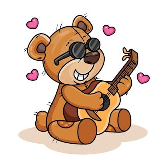 Cute bear playing guitar cartoon  icon illustration. animal icon concept isolated on white background