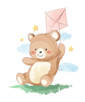 Cute bear playing kite on the filed illustration