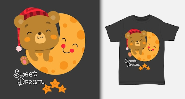 Cute bear playing on the moon with tshirt design Premium Vector