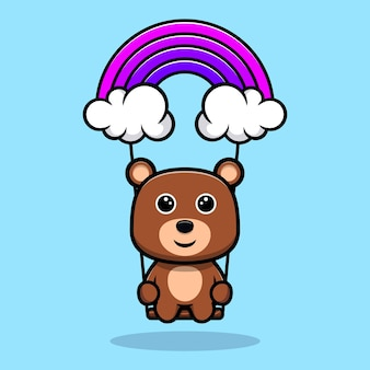 하늘 만화 캐릭터에 귀여운 곰