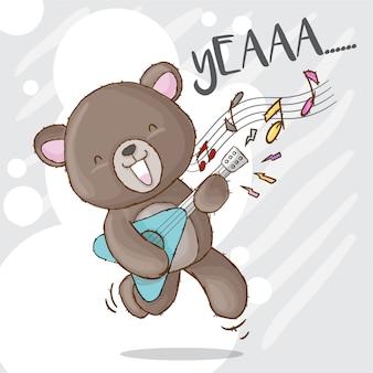 Cute bear playing rock guitar hand drawn animal