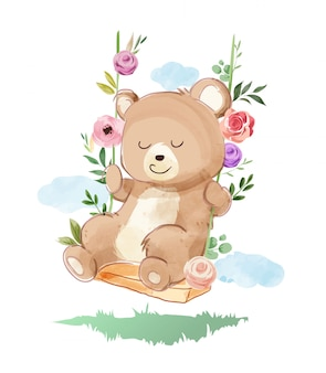 Cute bear playing swing with flowers