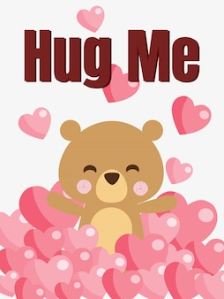Cute bear and plenty of heart background.
