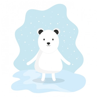 Cute bear polar adorable character