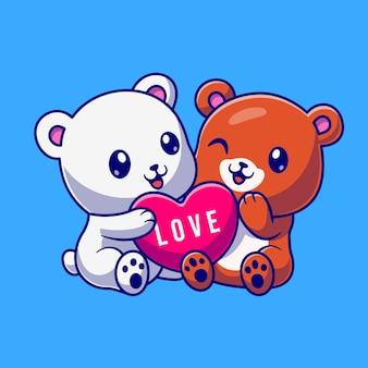 Cute bear and polar bear with love heart cartoon vector icon illustration. animal nature icon concept isolated premium vector. flat cartoon style