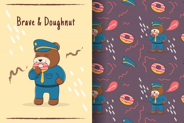 かわいいクマ警察のシームレスなパターンとカード
