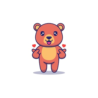 Cute bear posing love sign with hands