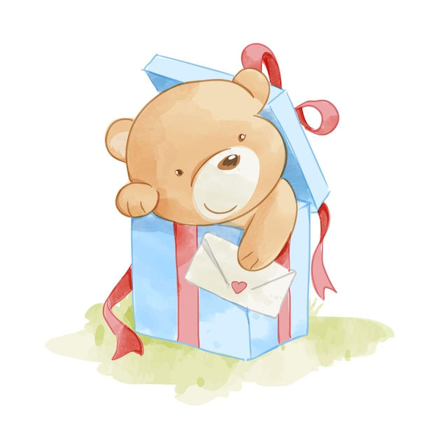 Cute bear in present box illustration