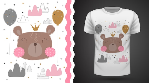 Cute bear for print t-shirt