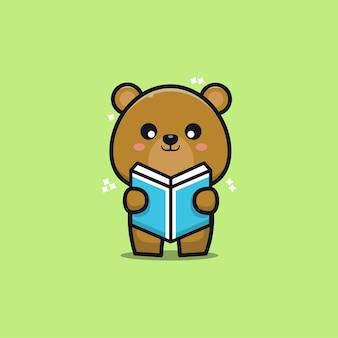 Cute bear reading book cartoon   illustration