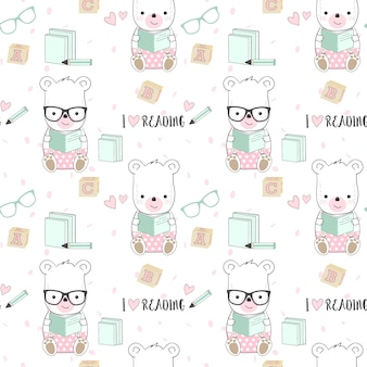 Cute bear and reading book seamless pattern